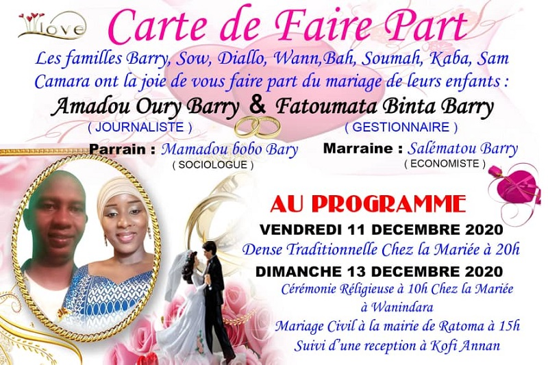 Carnet rose: Amadou Oury Barry (AOB) se marie
