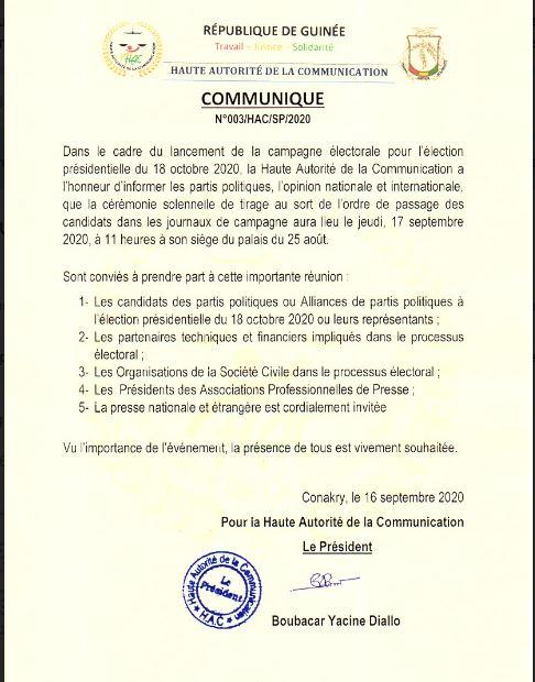 Présidentielle 2020: la Haute Autorité de la Communication convie les candidats (Communiqué)